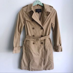 J. Crew Khaki Trench Coat Belted Size 2 Petite